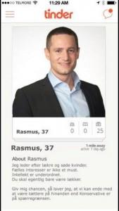 Falsk Tinder-profil, som foregiver at være Rasmus Jarlovs. Den falske profil blev delt på de sociale medier efter Jarlovs kommentarer i kønsdebatten i december 2014.