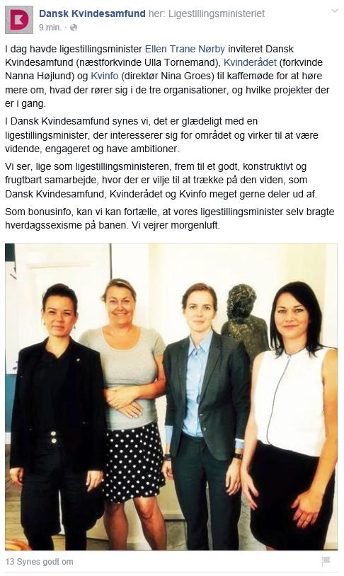 Ellen Trane Nørby diskuterer ligestilling med repræsentanter fra KVINFO, Kvinderådet og Dansk Kvindesamfund.