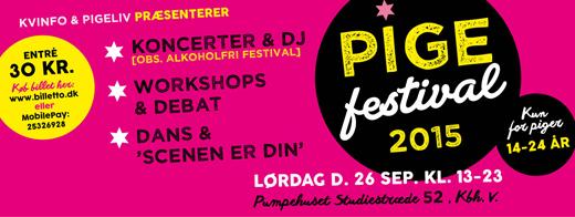 Reklamen for den omtalte Pigefestival. Billede fra Kvinfo.dk