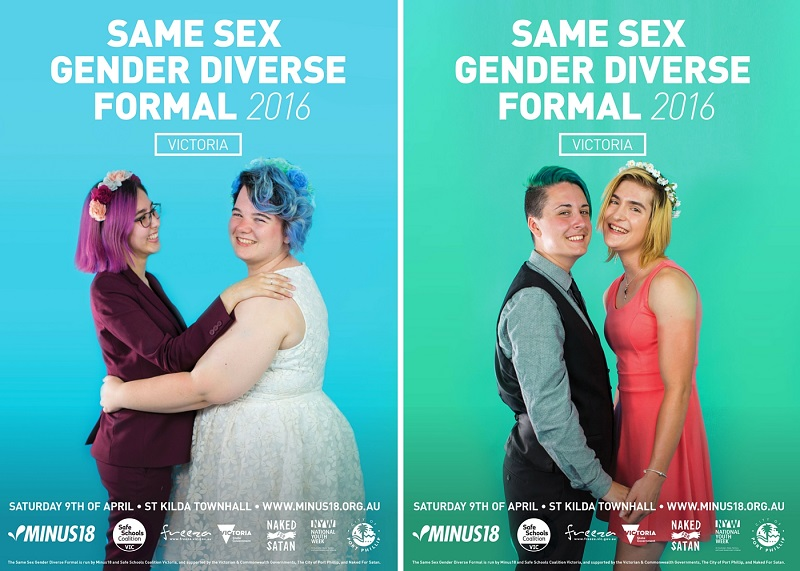 Reklameplakater for festen 'Same Sex Gender Diverse Formal'. Fotos: Minus18org.au.