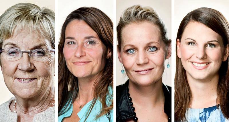 Fire ligestillingsordførere, som alle afviser ideen om kønsopdelt offentlig transport i Danmark. Fra venstre mod højre: Marianne Jelved (R), Carolina Magdalene Maier (Å), Karina Adsbøl (O) og Mette Abildgaard (C).