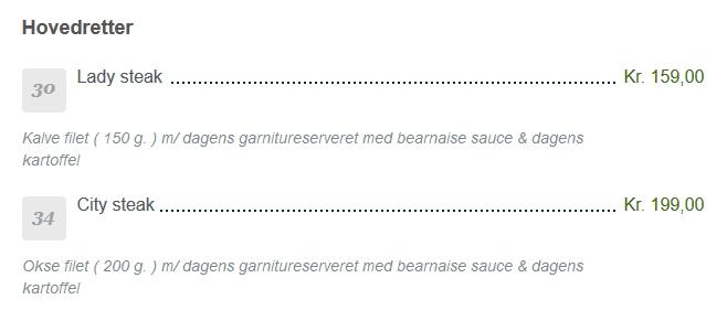 På mange restauranter kan man støde på kønnede navne på retterne. Her er Lady steak på menukortet. Billede: Screen shot af menukortet på den københavnske restaurant City Kroen.