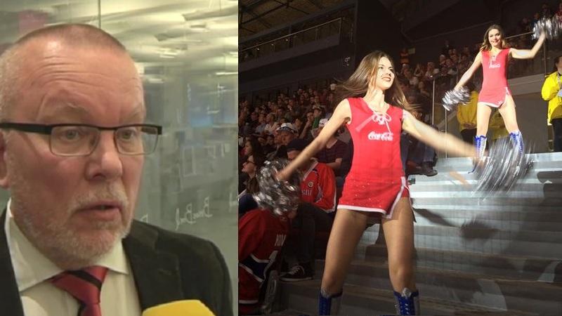 Forbundskaptajn for det svenske damelandshold, Leif Boork, er kritisk over for pauseunderholdningen ved ishockey-VM i Rusland. Billede: Screenshot Expressen og det russiske ishockeyforbunds Twitter-profil.