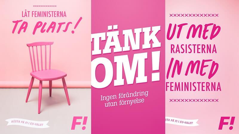 Et feministisk parti er på vej i Danmark. Billede: Kampagneplakater for det svenske feministparti, Feministisk Initiativ.
