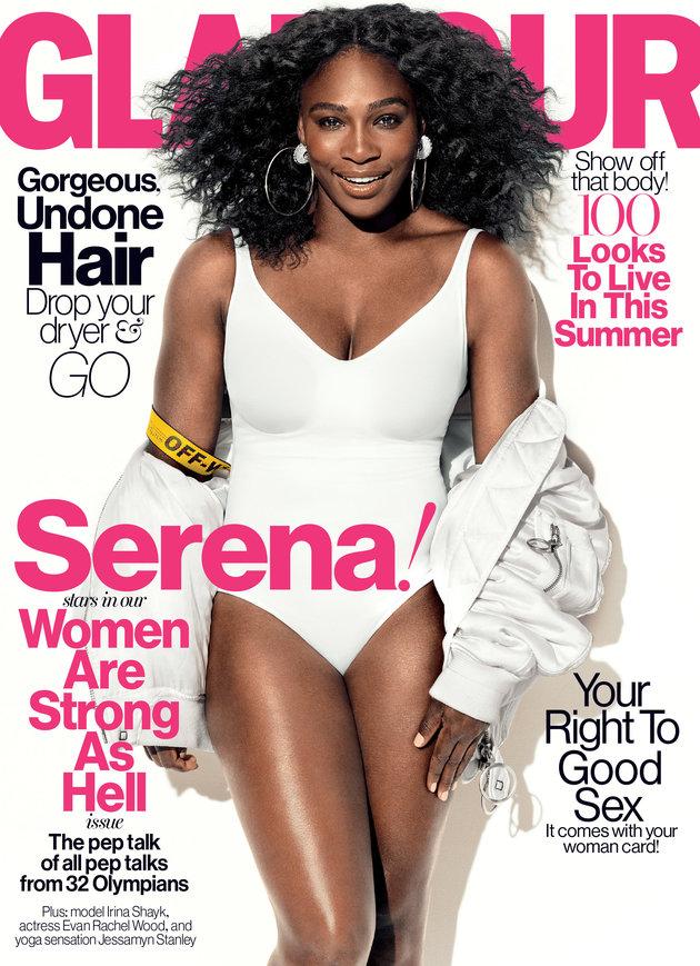 Tennisstjernen Serena Williams er på forsiden af Glamours juliudgave. Billede: Glamour.