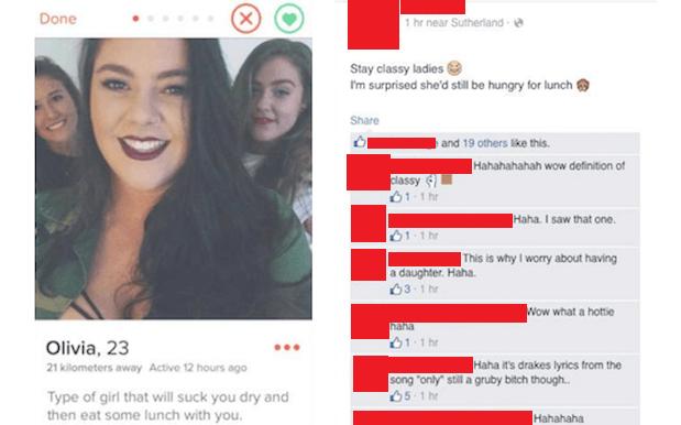Tinder-profilen af den 23-årige Olivia med citatet af Drake-sangen. Billede: Sociale medier.