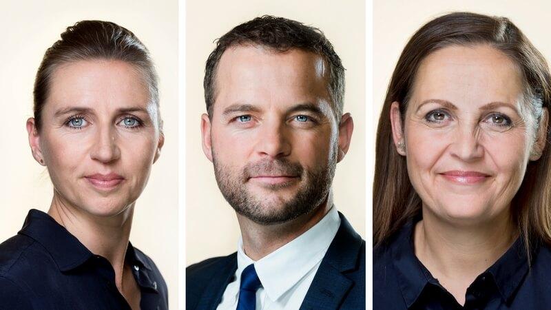 Centrumvenstrepartilederne Mette Frederiksen (S), Morten Østergaard (R) og Pia Olsen Dyhr (SF) foreslår i fællesskab, at sex uden samtykke skal betragtes som voldtægt. Billede: Ft.dk.