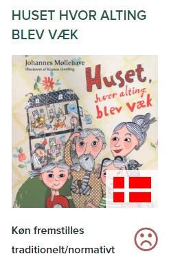Johannes Møllehaves børnebog 'Huset hvor alting blev væk' får en sur smiley på genustest.no.