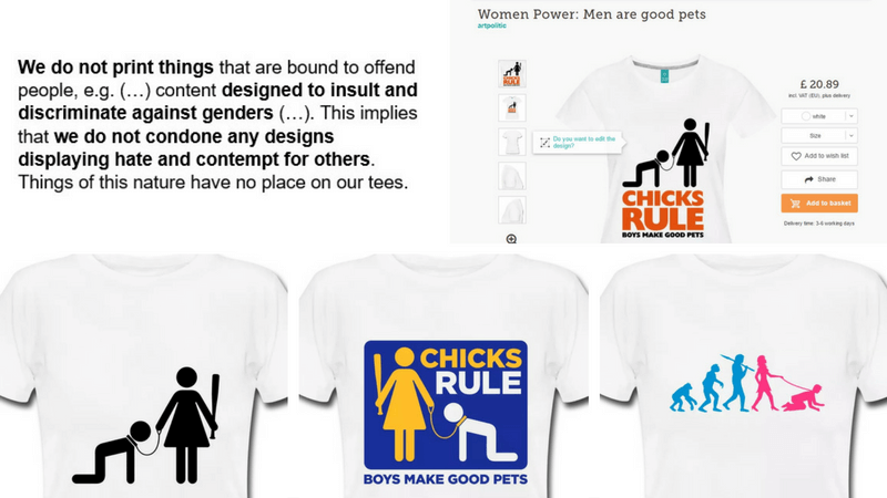 Global clothing company Spreadshirt does not live up to its own ethical standards. Image: Spreadshirt.co.uk.