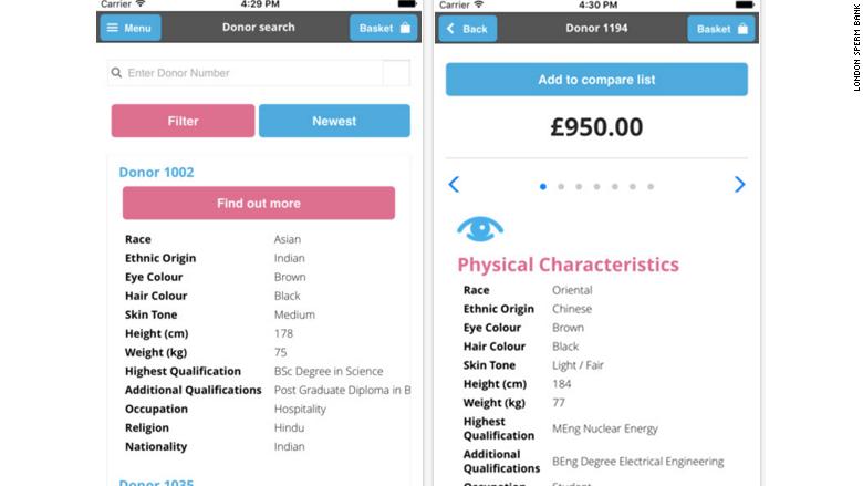 Når den rigtige donor er fundet, kan hans sæd bestilles i appen med et klik. Prisen er £950 - 8.200 kroner. Billede: Screenshot fra appen.