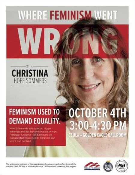 Plakaten for arrangementet den 4. oktober, hvor Christina Hoff Sommers skal tale under titlen 'Where Feminism Went Wrong'.