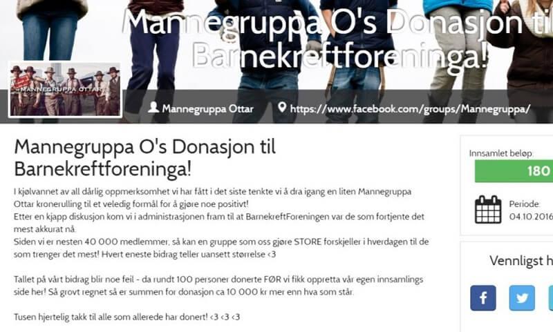 Den norske mandegruppe Mannegruppa Ottar indsamlede i går 180.000 kroner til kraftramte børn. Men modtageren, Barnekreftforeningen, afviser at tage imod pengene. Billede: Screenshot fra indsamlingen.