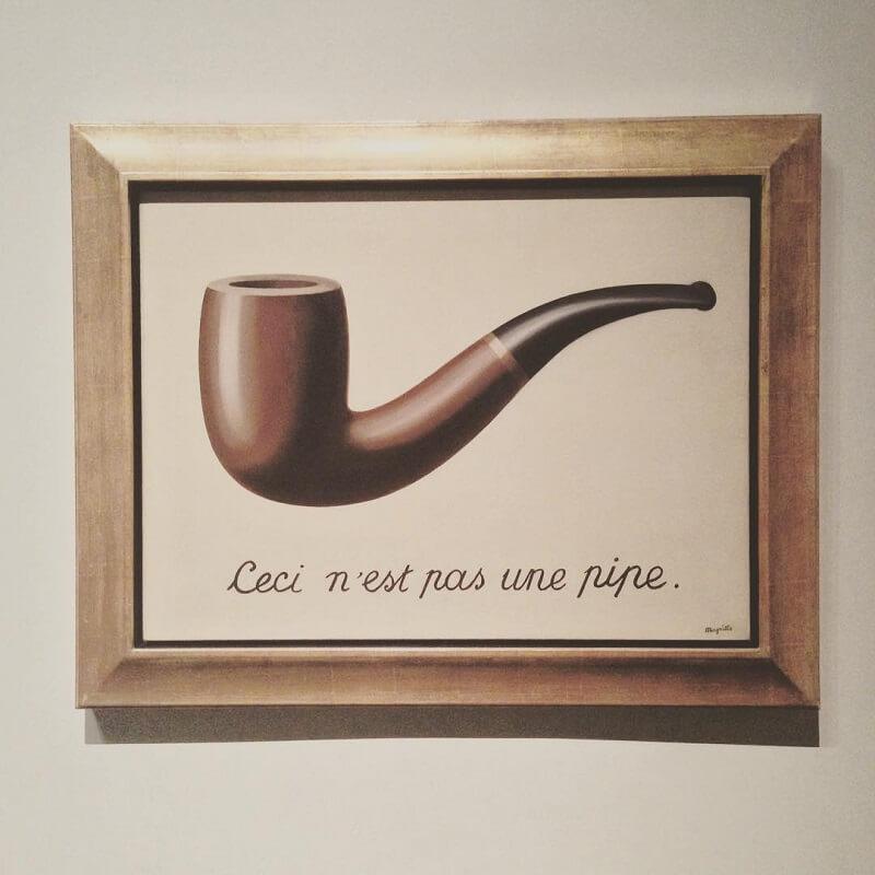 René Magrittes kendte billede af piben, La trahison des images, hænger på Los Angeles County Museum of Art. Billede: LACMA/Instagram/Tumbler.