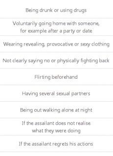 Ni spørgsmål, der måler holdningen til, om voldtægt i visse situationer kan retfærdiggøres. Kilde: Special Eurobarometer 449.